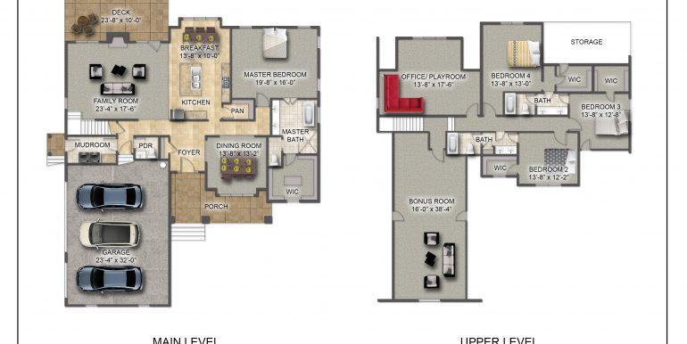 Heron Floor Plan - Level 1 and 2